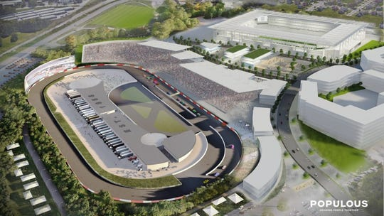 A rendering presented to Mayor David Briley by Speedway Motorsports in ongoing talks to bring NASCAR to the Nashville Fairgrounds