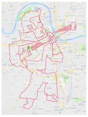 A trio of Vanderbilt University biology researchers — Nick Adams, Dale Edgerton and Bryan Shepherd — rode  through Nashville to create Strava art that looks like Elvis playing the guitar.