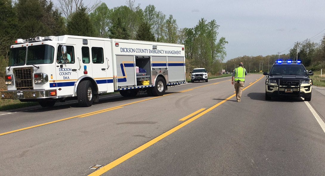 The site of a fatal crash on Highway 46 on Thursday morning in Dickson County