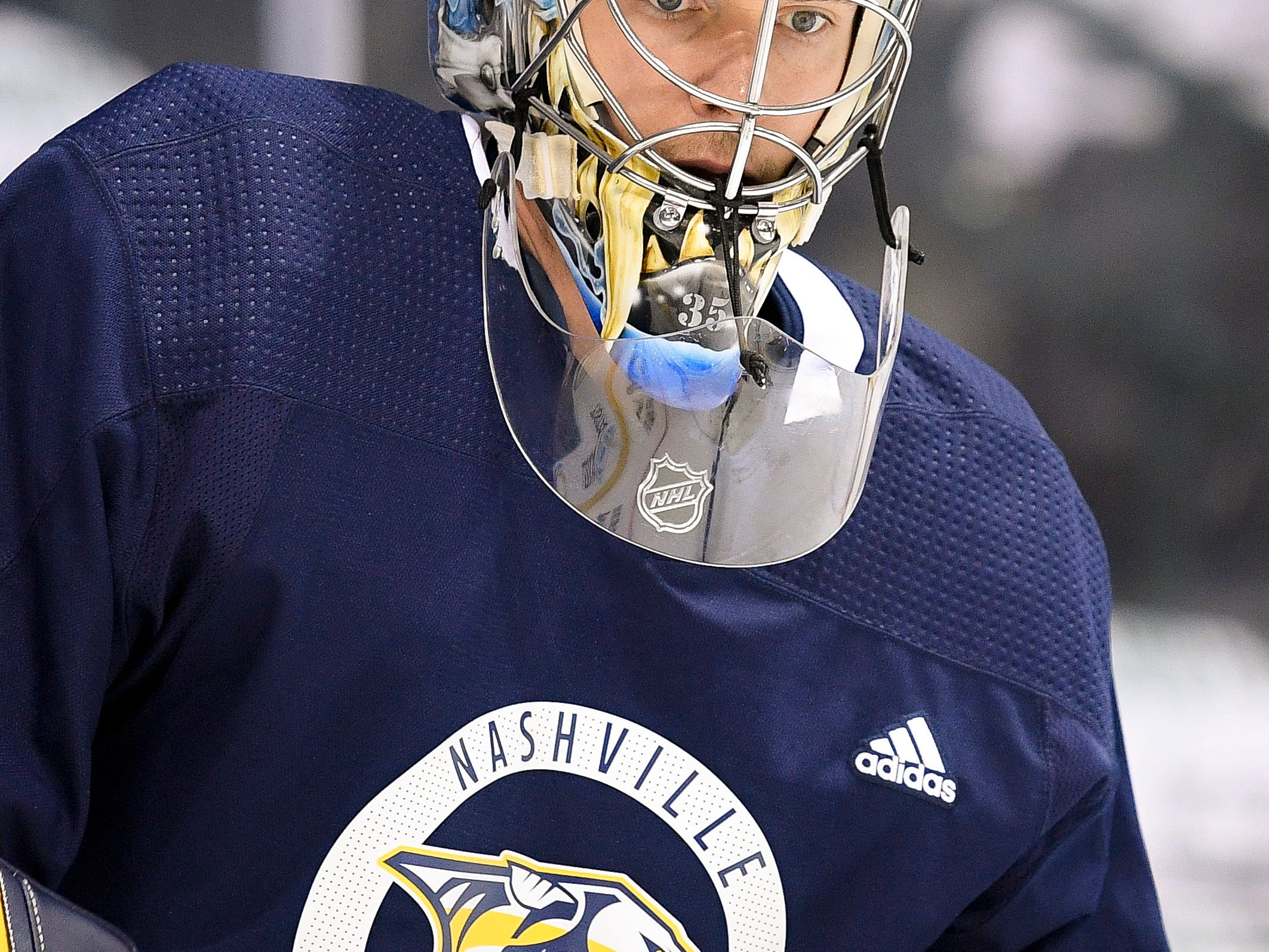 Nashville Predators goaltender Pekka Rinne (35) warms up during practice before the divisional semifinal game at the American Airlines Center in Dallas, Texas., Monday, April 15, 2019.
