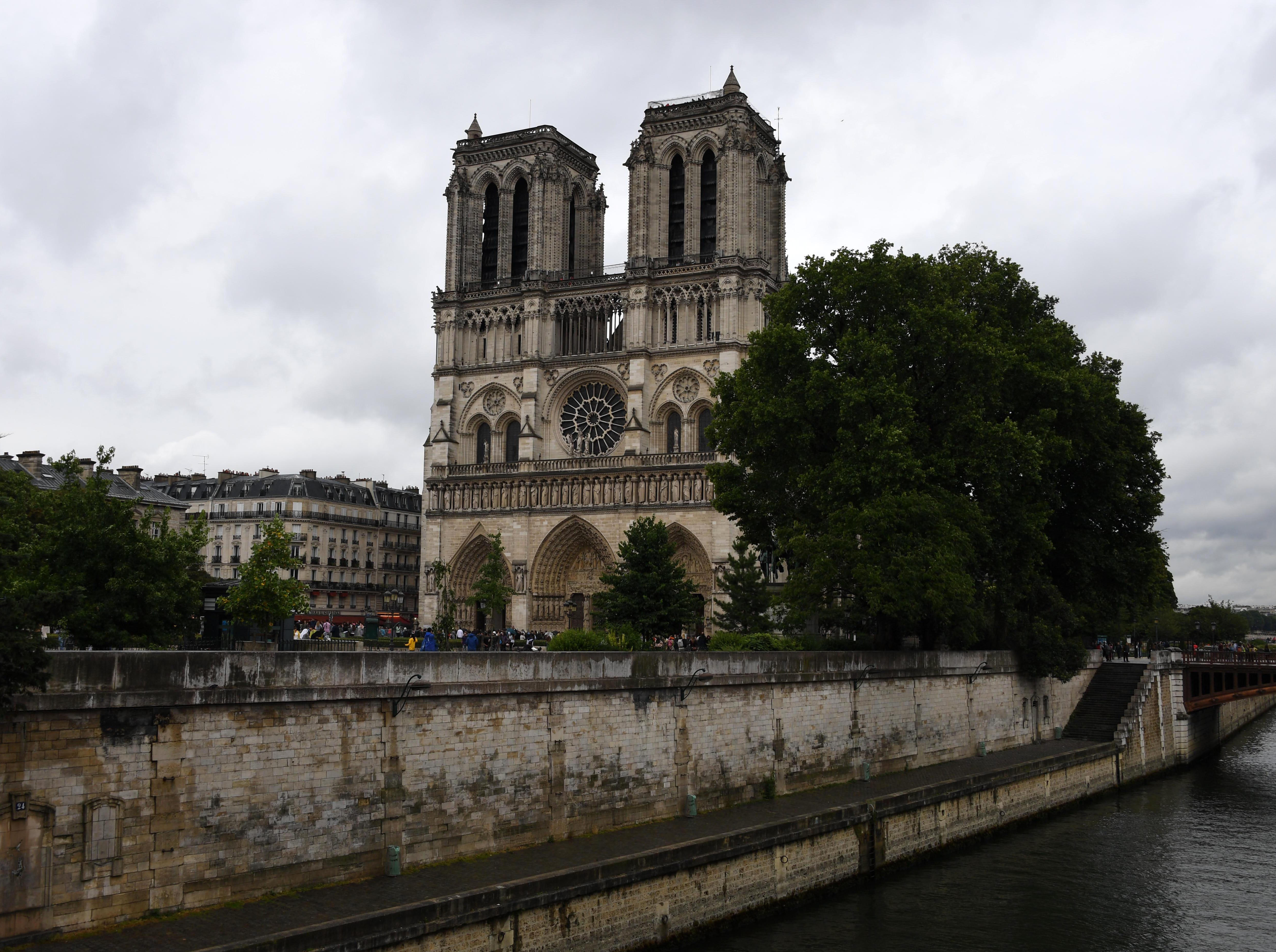 General overall view of the Notre Dame Cathedral (Cathedrale Notre Dame De Paris) and the Seine River in this 2017 file photo.