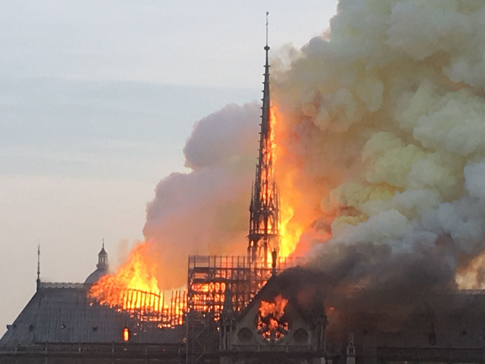 A fire erupted on the roof of Notre Dame Cathedral April 15, 2019.