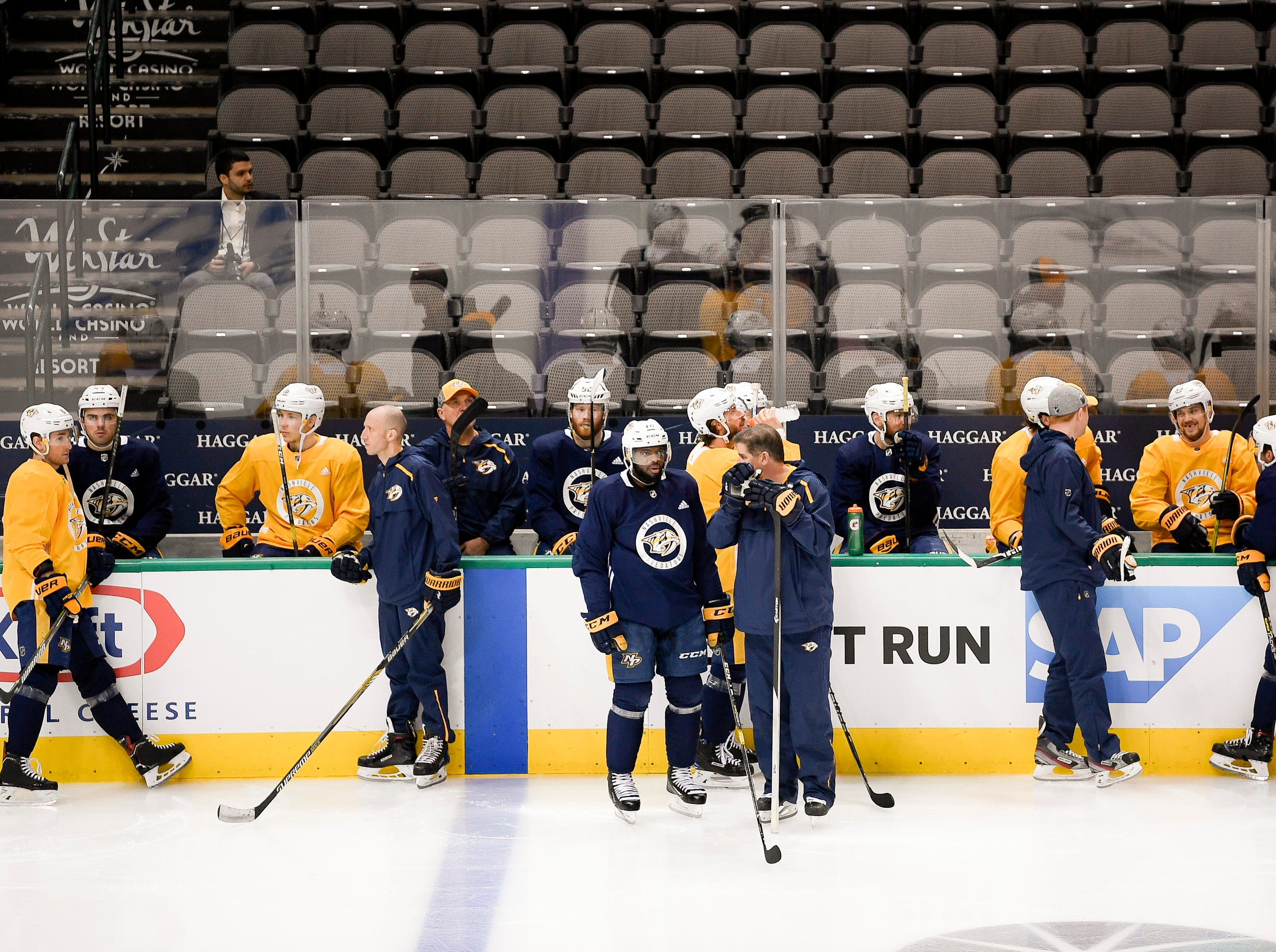 The Nashville Predators wait for practice to begin before the divisional semifinal game at the American Airlines Center in Dallas, Texas., Monday, April 15, 2019.