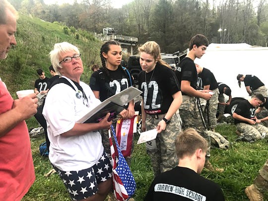 Fairview HS JROTC Yellow Jacket Battalion honor the families of MIA/KIA soldiers who made the ultimate sacrifice at the Annual Mountain Man Memorial March in Gatlinburg, TN.
