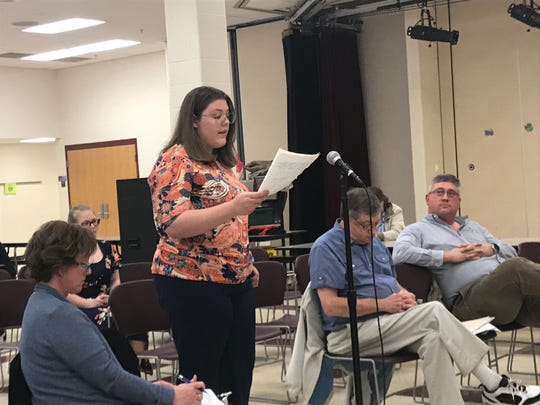 Utica freshman Lydia Harding addressed the North Fork school board during Monday's meeting. Harding was one of three students to speak in support of teacher Brian Gastin, whose resignation was approved.