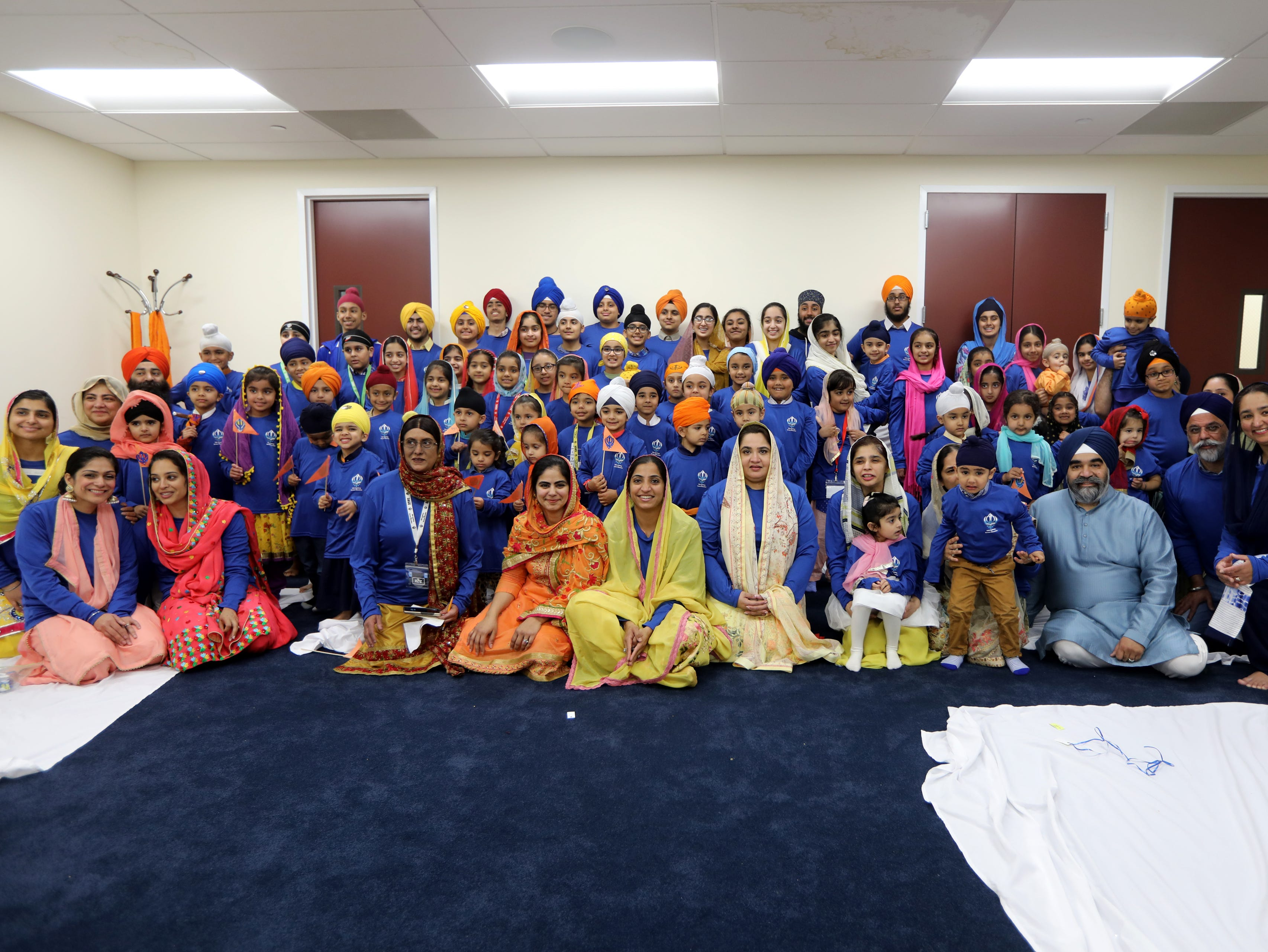 Students and faculty members of the Guru Nanak Mission's Sikh Academy for Gurmat Education (SAGE), pose for photographs, in Oakland. Sunday, April, 14, 2019