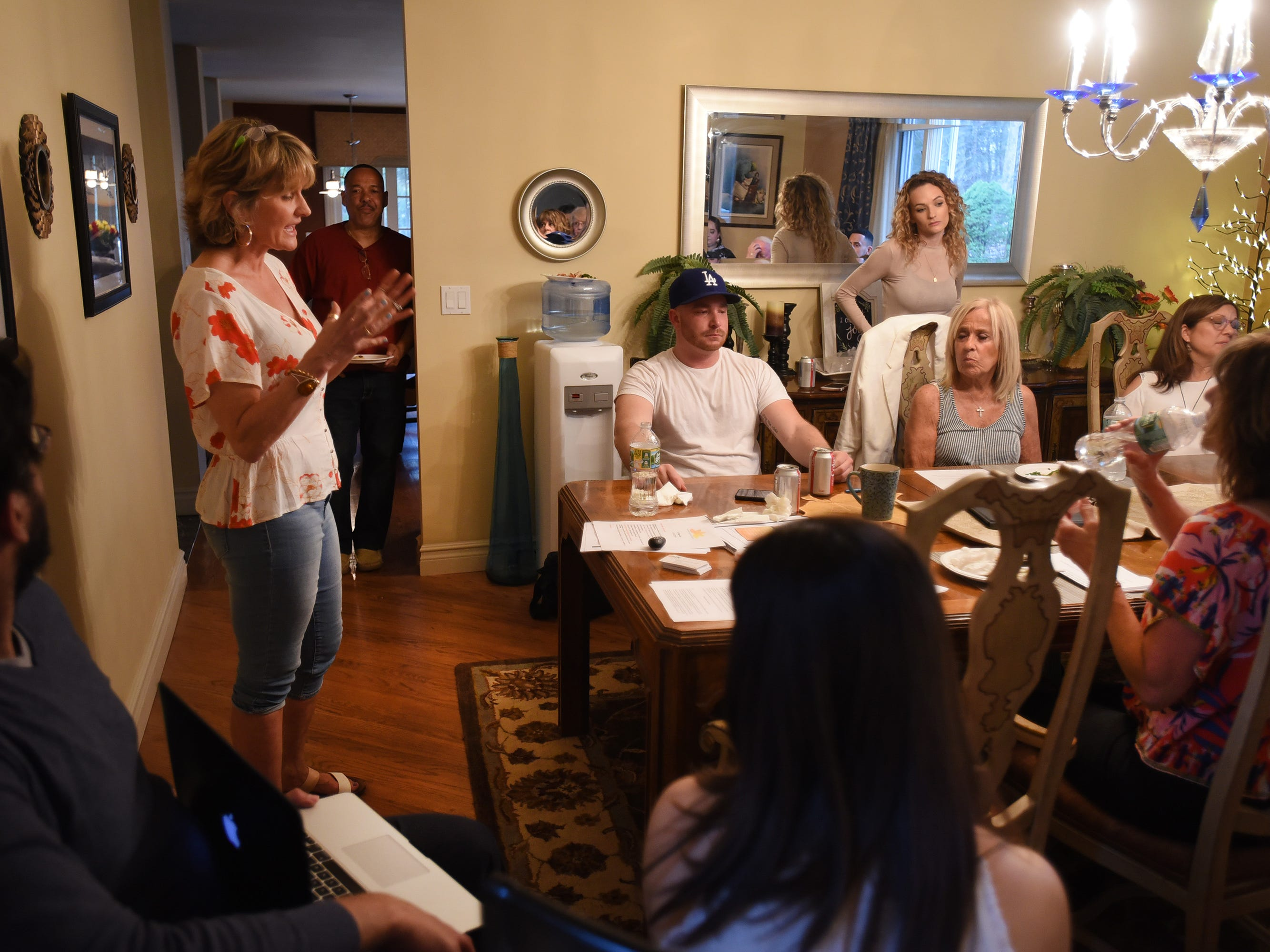 Nancy Labov, the Founder and Director of AIR(Alumni in Recovery), speaks to its members, family members of those who died from addiction,and volunteers, during their annual community meeting in Old Tappan on 04/14/19.