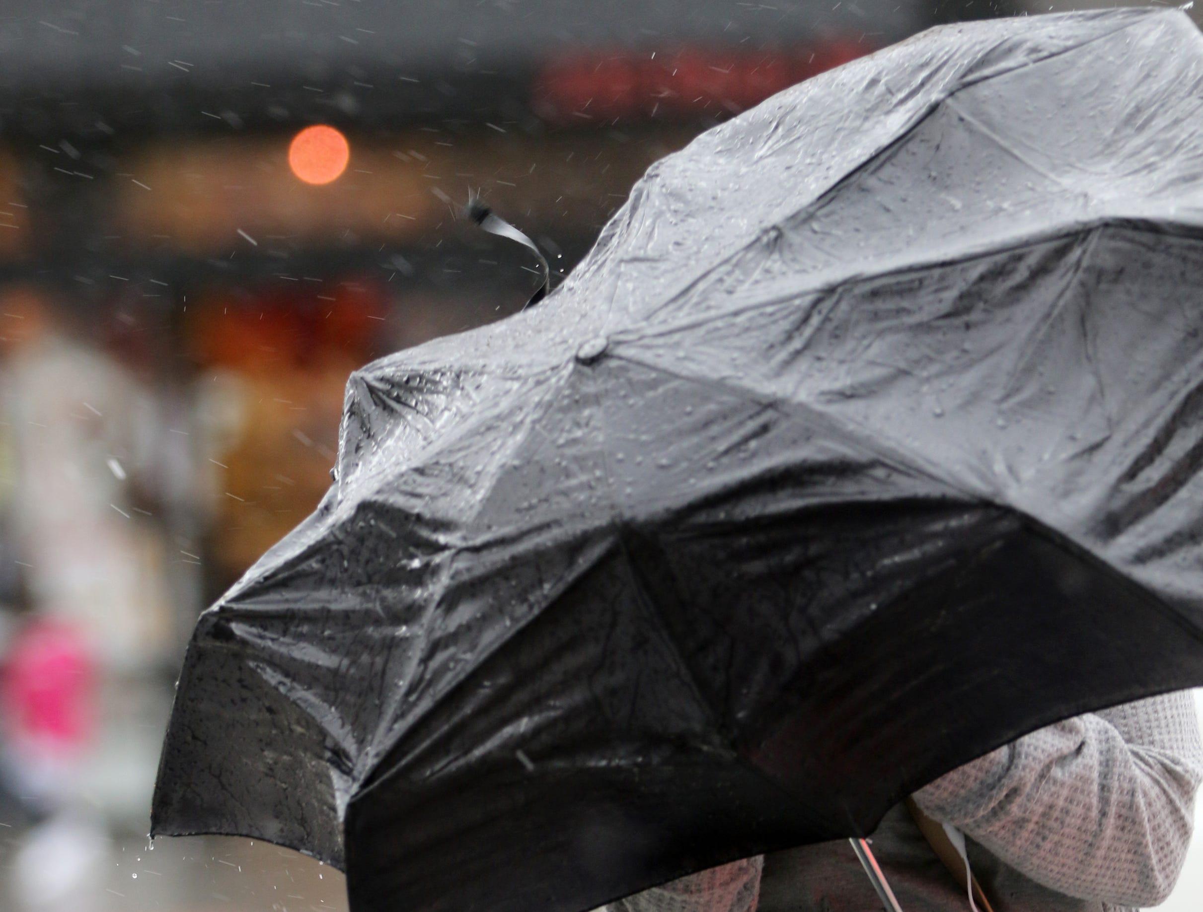 A quick but powerful rain storm hit Paterson, Monday morning, April, 15, 2019.