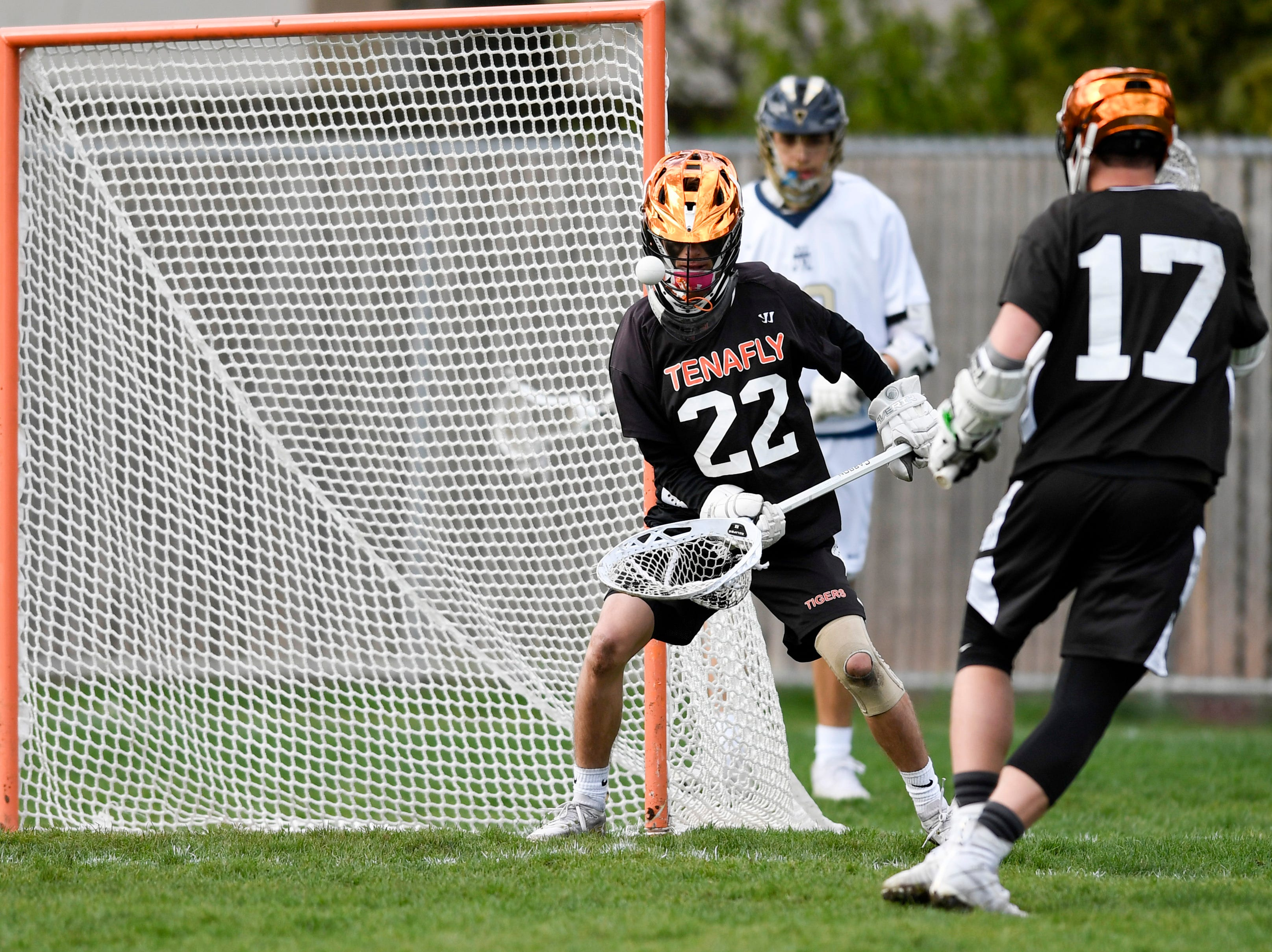 Tenafly goalie Dylan Wickey (22) juggles the ball after a save against Dwight Englewood on Monday, April 15, 2019, in Englewood.