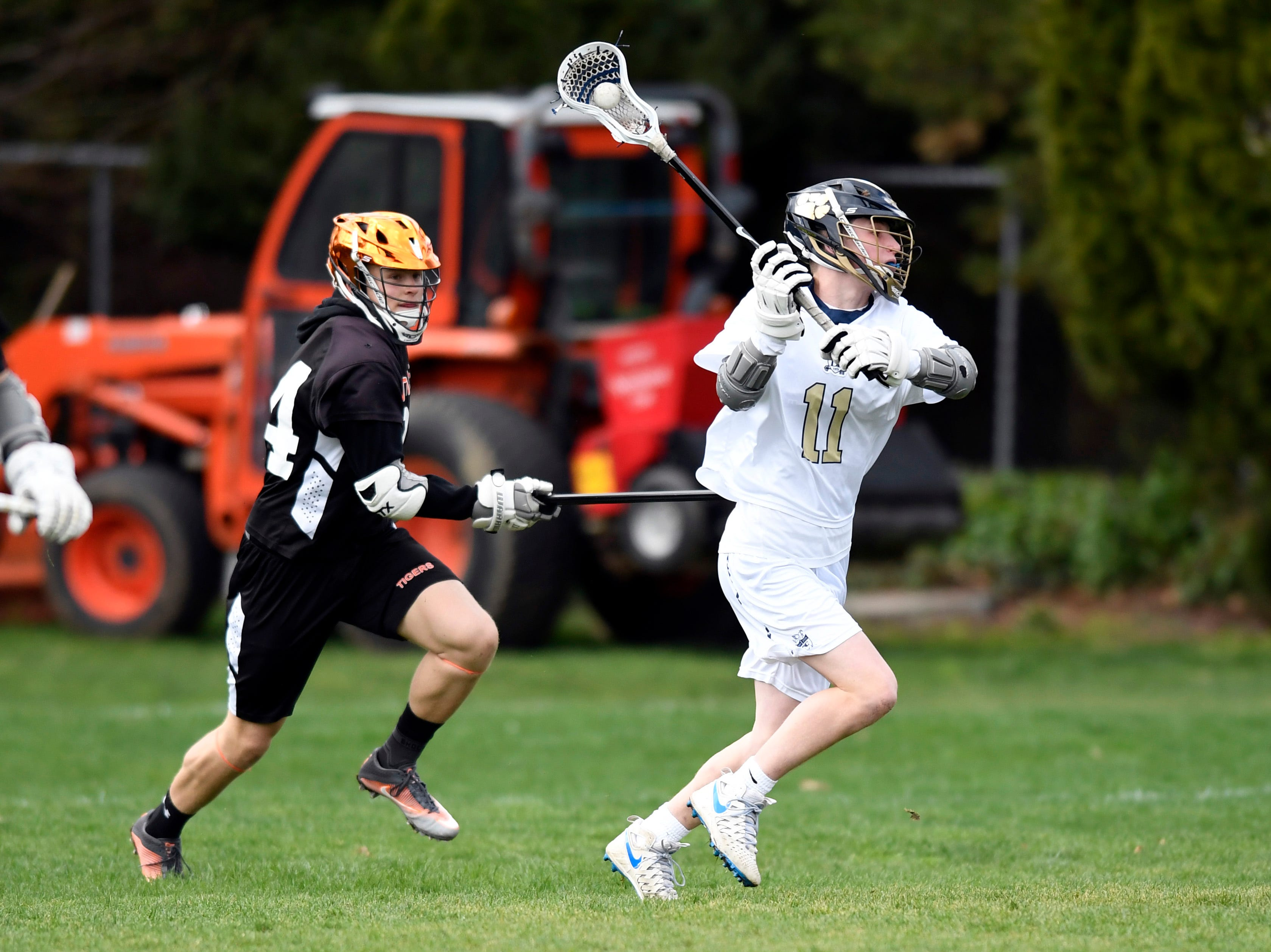 Dwight-Englewood's Jacob Breslow (11) takes a shot on Tenafly goal on Monday, April 15, 2019, in Englewood.