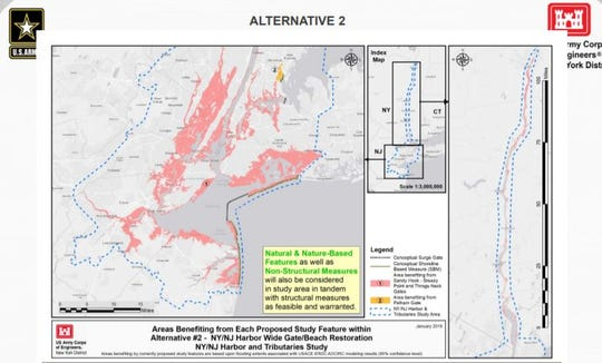 This $119 billion alternative shows a 5-mile barrier from Sandy Hook, NJ, to Breezy Point, Queens, to prevent a storm surge out of Northern New Jersey and New York.