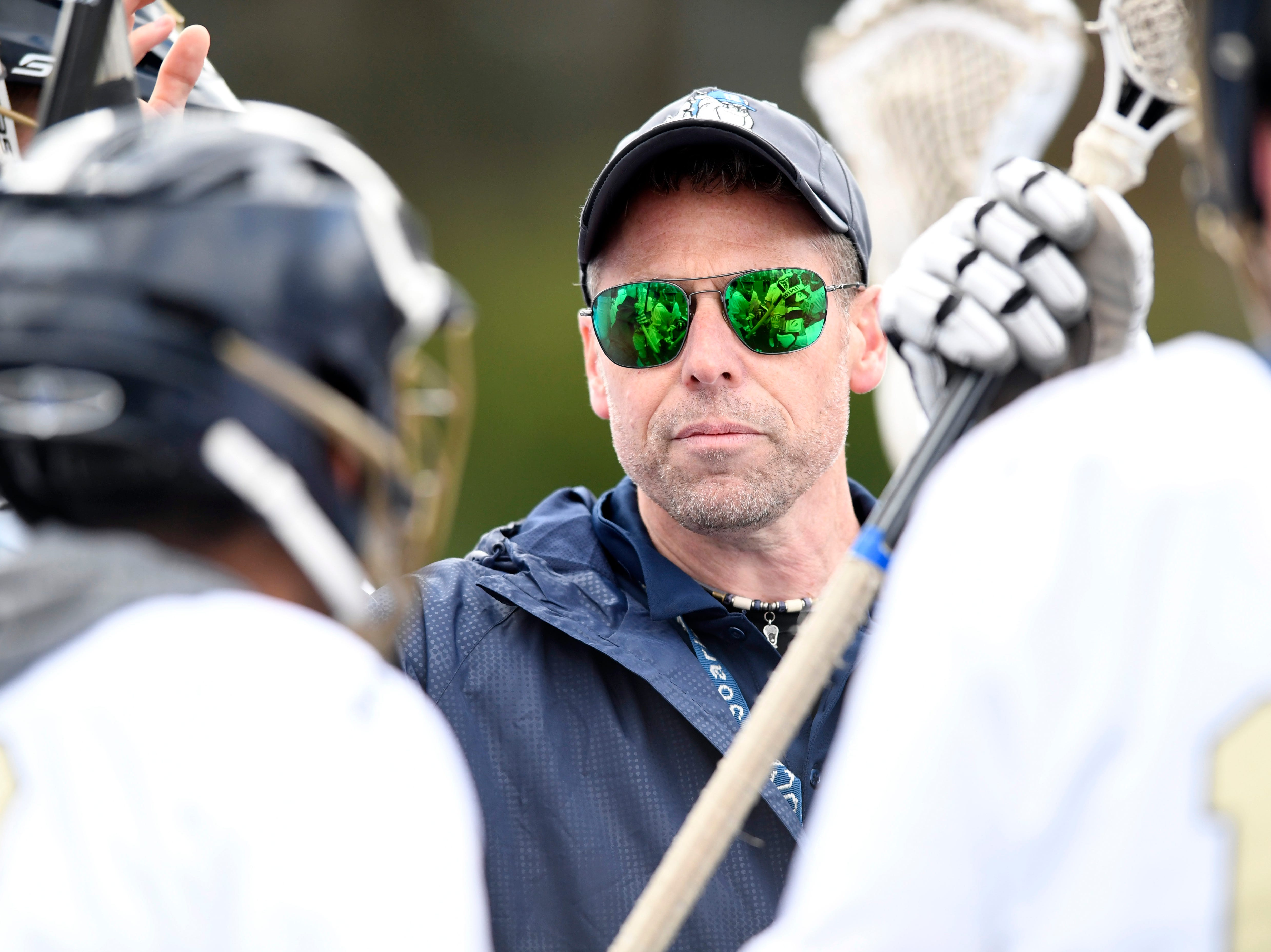 Dwight-Englewood boys lacrosse head coach Craig Lapierre talks to his team before they face Tenafly on Monday, April 15, 2019, in Englewood.
