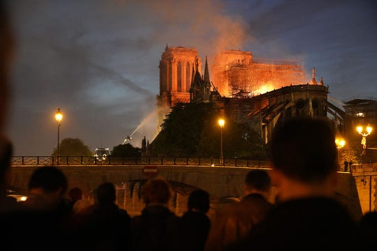 Thousands of spectators, mostly Parisians, looked on in disbelieve for most of the late afternoon and in the evening hours as The Cathedral of Notre Dame, second only to the Louvre as the most visited landmark in all of France, burned out of control, Monday, April 15, 2019. This iconic landmark built in the 13th century has long stood as a symbol of French pride. The official cause of the blaze remains under investigation and authorities will not be able to gather all the details until the fire is extinguished and it is safe to enter the structure.