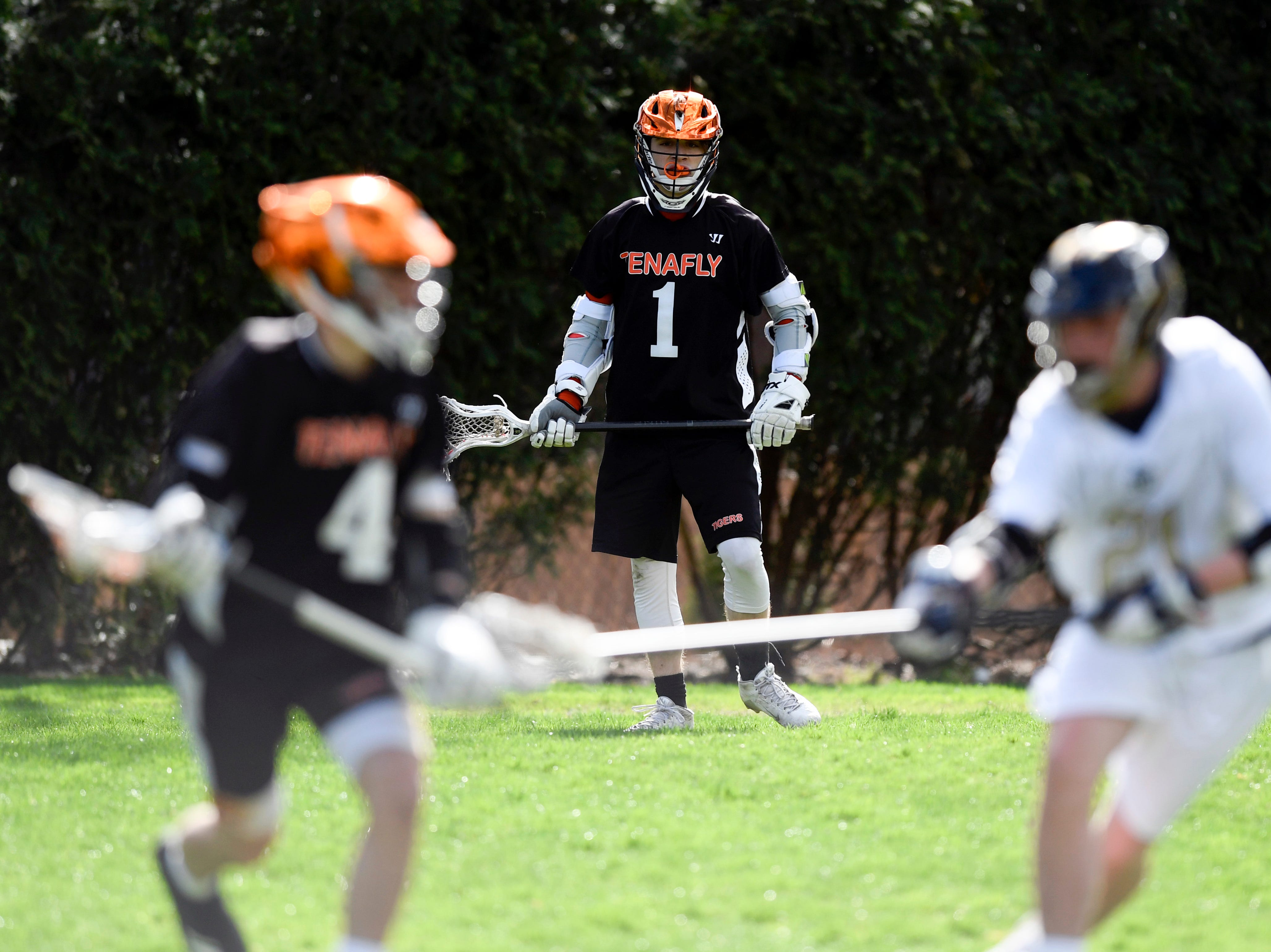 Tenafly's Austin Dome (1) looks on as his team faces Dwight Englewood on Monday, April 15, 2019, in Englewood.
