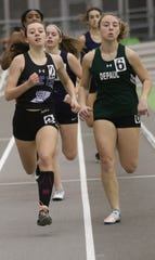Passaic County Tech's Anne Noonan, at left during the indoor season, helped the PCT girls to a win over rival Clifton at the Dr. Boverini Memorial Passaic County Relays on Saturday, April 13, 2019.