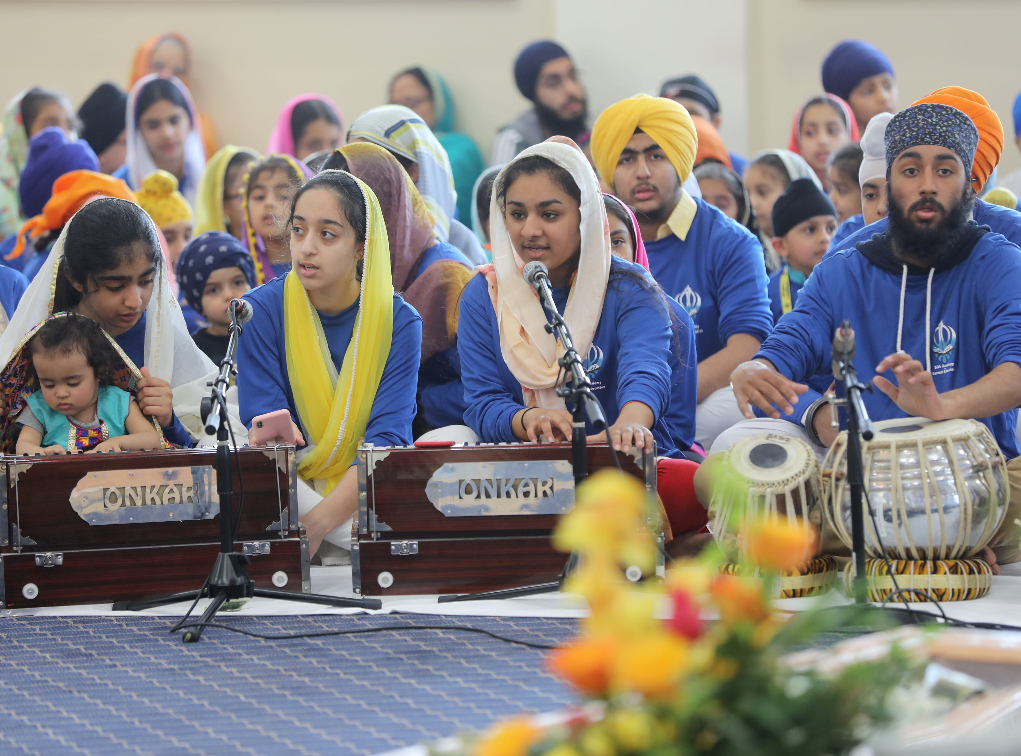 Students of the Guru Nanak Mission's Sikh Academy for Gurmat Education (SAGE), play the harmonium and percussion. Sunday, April, 14, 2019