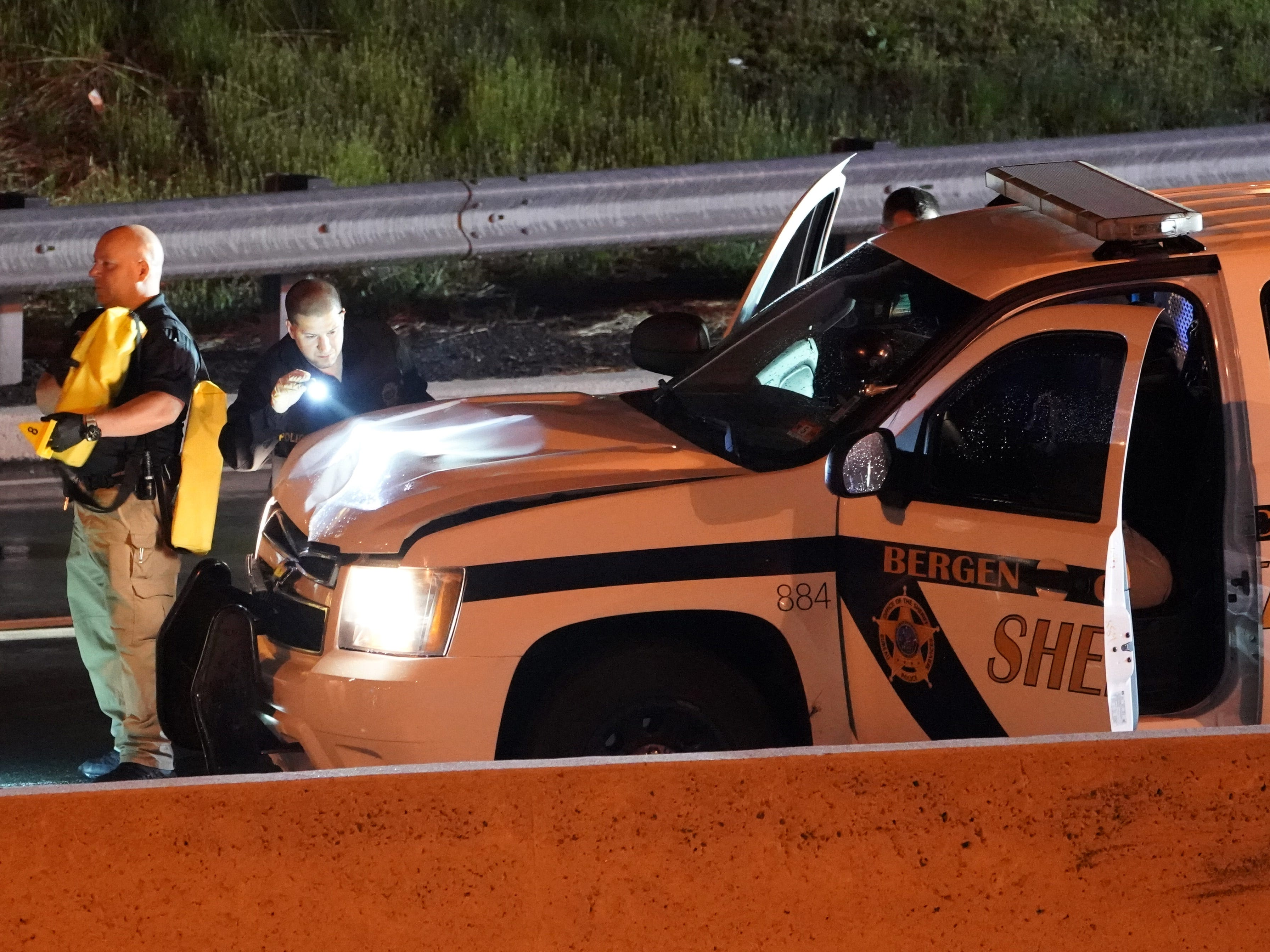 Police at the scene where a Bergen County Sheriff's Office vehicle fatally struck a juvenile pedestrian along Route 208 in Fair Lawn, NJ around 9 p.m. on April 14, 2019.