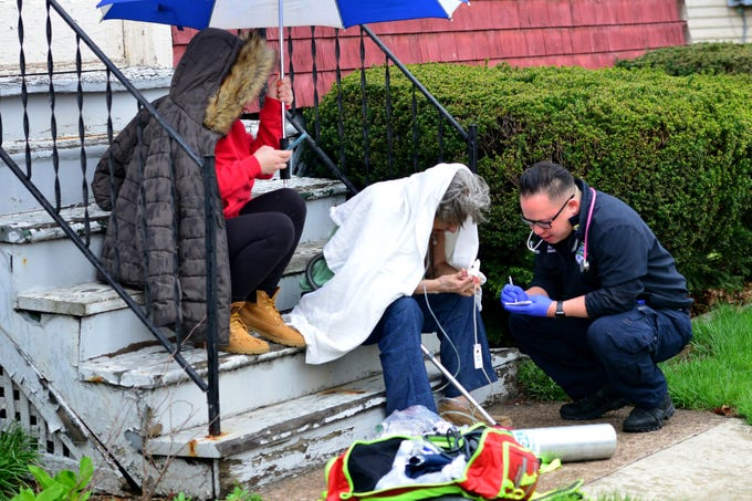 A dog died in a house fire on Shafer Pl fire ripped through a home in Hackensack on Monday April 15, 2019. A female resident was transported to the hospital. A cat survived the fire.