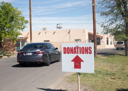 Donations of goods for migrant families arrive at the Las Cruces Gospel Rescue Mission Monday, April 15, 2019.