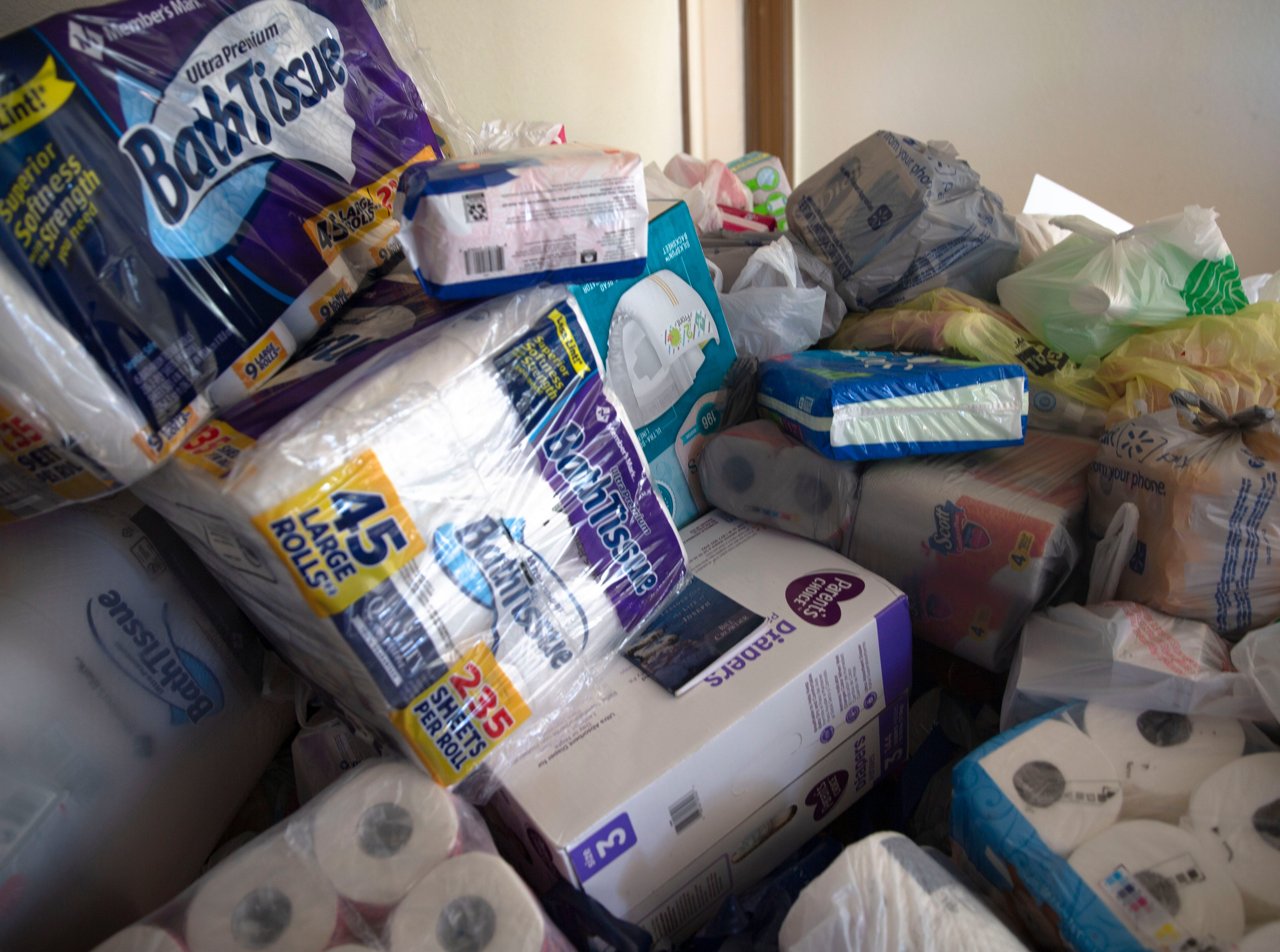 Some of the items most needed for migrant families at The Gospel Rescue Mission Monday April 15, 2019, are toilet paper, all sizes of hand sanitizer, and feminine hygiene products.