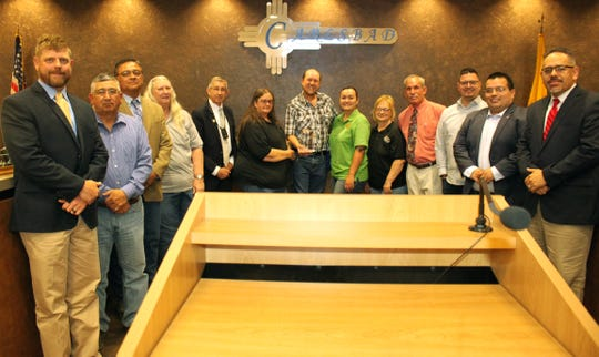 Carlsbad City Councilors celebrate with Carlsbad Transit the election of the agency as Agency of the Year.