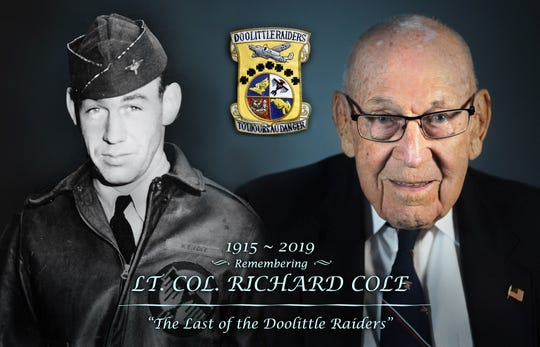 Retired Lt. Col. Robert E. Cole, a B-25 Mitchell bomber co-pilot and survivor of the Doolittle Raid on Tokyo, is pictured Nov. 5, 2015. Cole is one of the two surviving Doolittle Raiders and was the co-pilot of Lt. Col. Jimmy Doolittle.