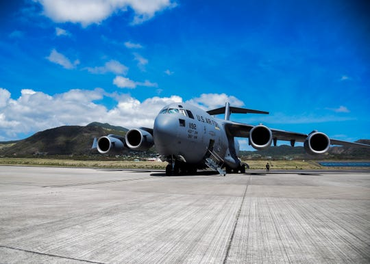 Joint Base Charleston, South Carolina, C-17 Globemaster III delivers humanitarian aid April 6, to St. Kitts and Nevis. This 315th Airlift Wing and 437th Airlift Wing joint mission successfully delivered 70,000 meals to St. Kitts and Nevis.