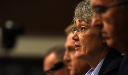 Secretary of the Air Force Heather Wilson testifies on the proposal to establish a United States Space Force during a Senate Armed Services Committee hearing  in Washington, D.C., April 11.
