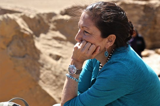 U.S. Rep. Deb Haaland, D-NM, sits at an overlook, Sunday, April 14, 2019, at Pueblo Bonito in Chaco Culture National Historical Park.