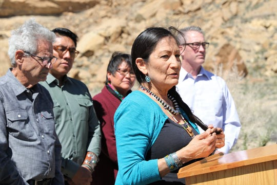 U.S. Rep. Deb Haaland, D-NM, speaks, Sunday, April 14, 2019, during a press conference at Chaco Culture National Historical Park.