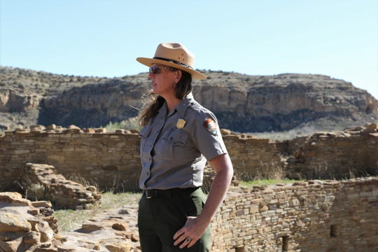 Chaco Culture National Historical Park Superintendent Denise Robertson stands in front of a kiva at Pueblo Bonito, Sunday, April 14, 2019, at Chaco Culture National Historical Park.