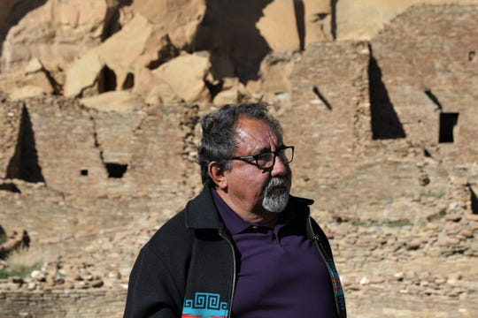 Rep. Raúl Grijalva, D-Ariz., visits Pueblo Bonito, Sunday, April 14, 2019, during a tour of Chaco Culture National Historical Park.
