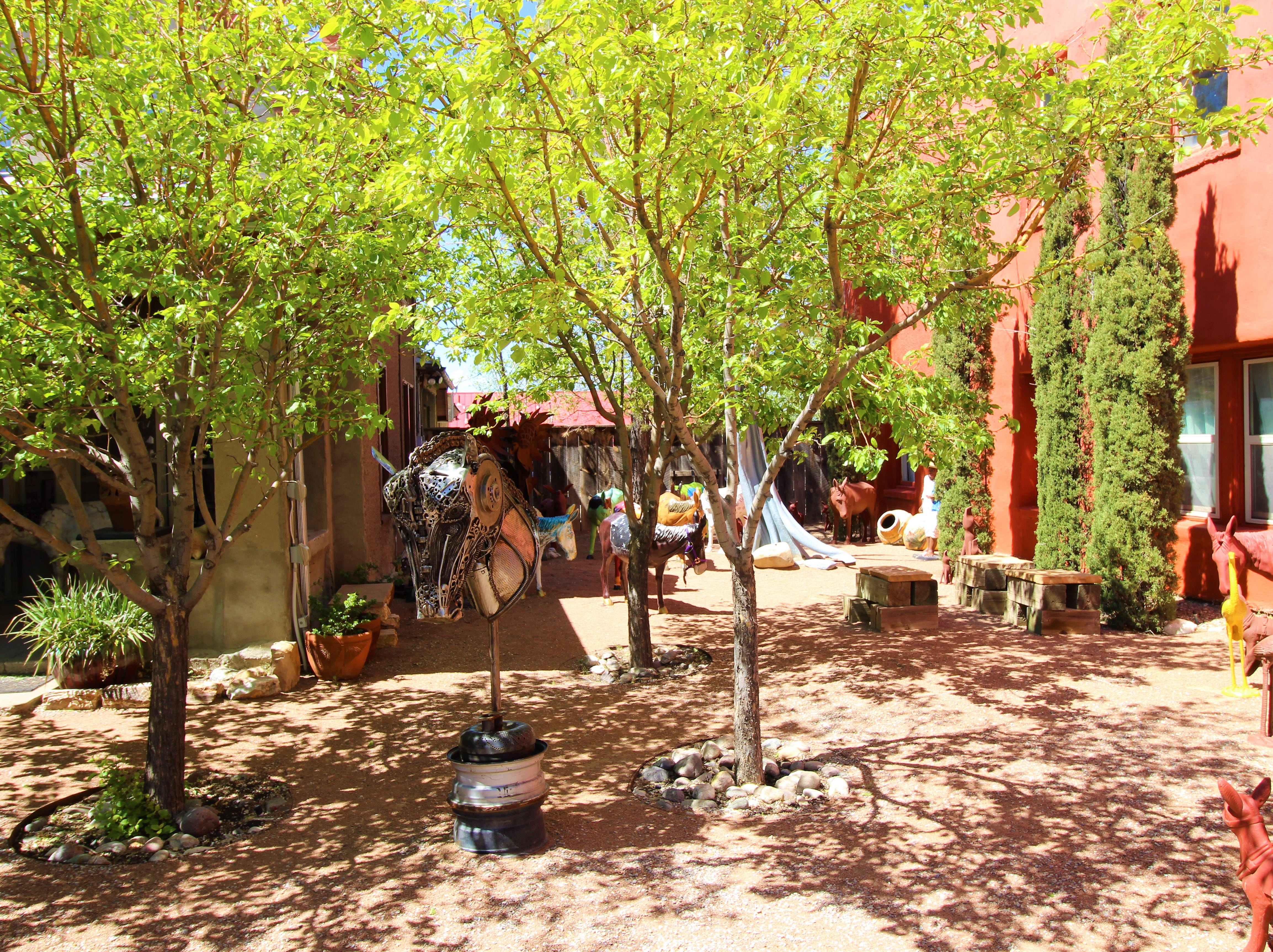 A sculpture Garden in the Art District of Carrizozo adds color and creation  to 12th street.
