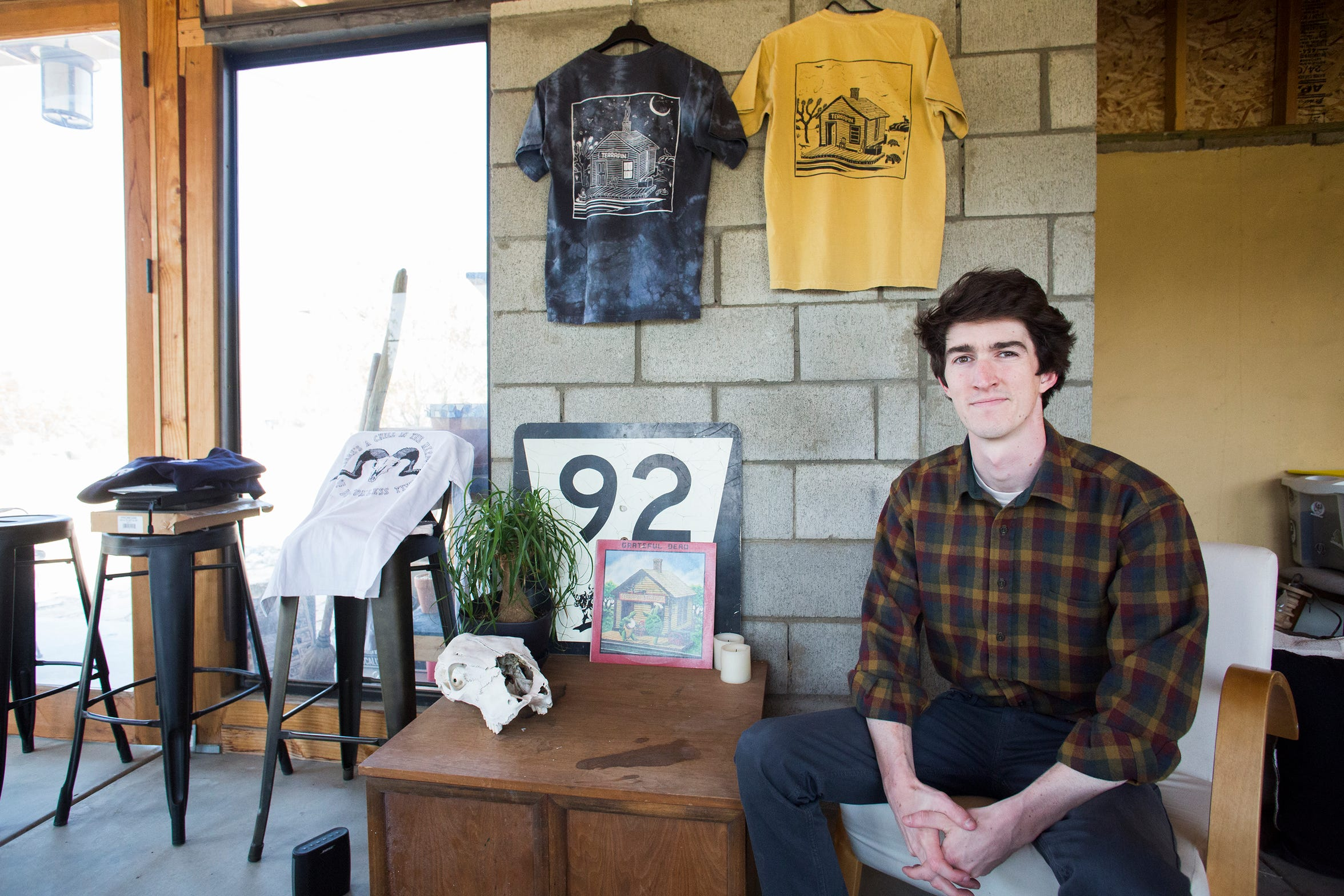 """Rudy Jansen, a """"deadhead"""" is photographed at his home in Morongo Valley in April of 2019."""