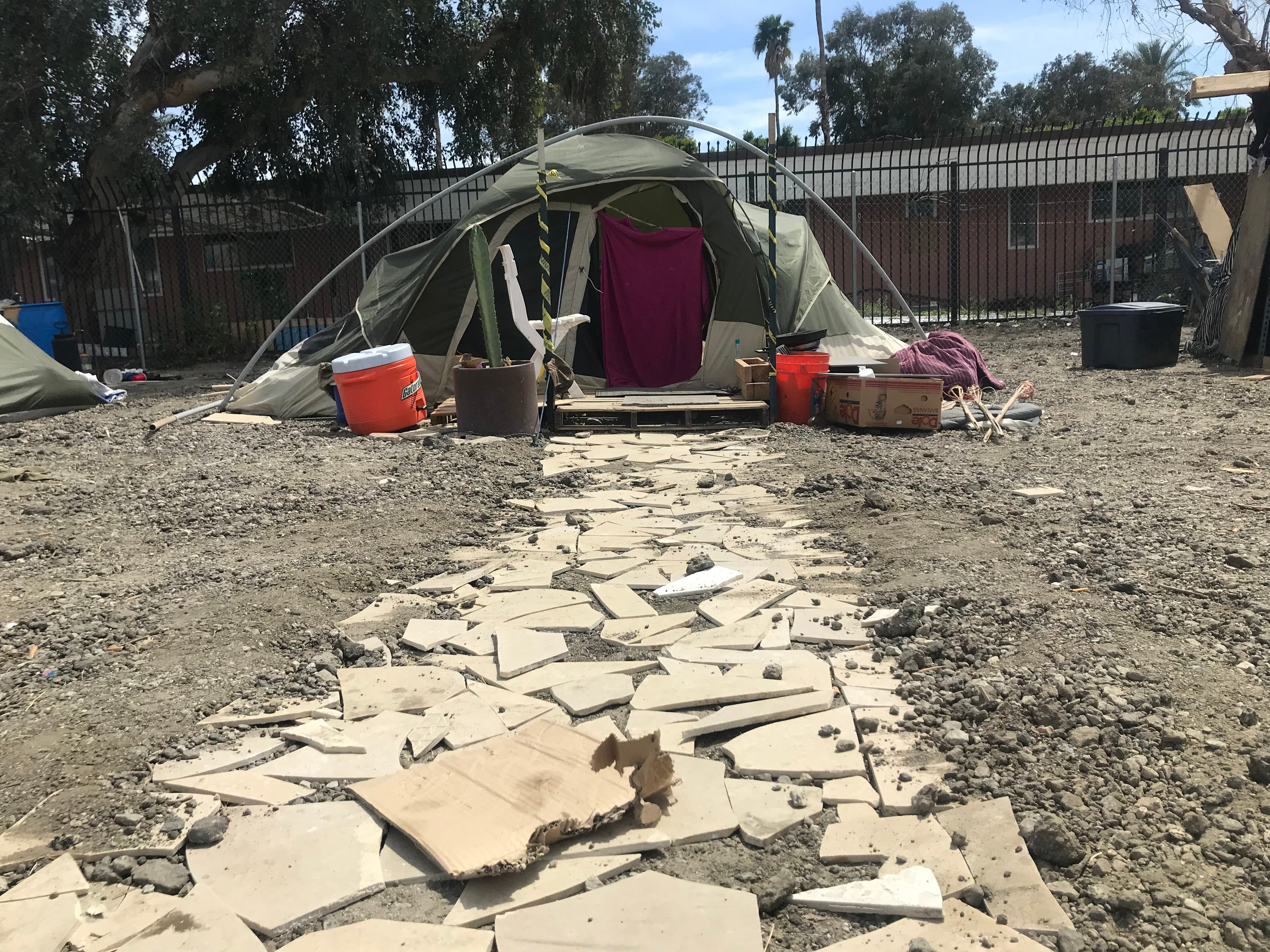 A tent at the One Stop Shoppe encampment in Indio.