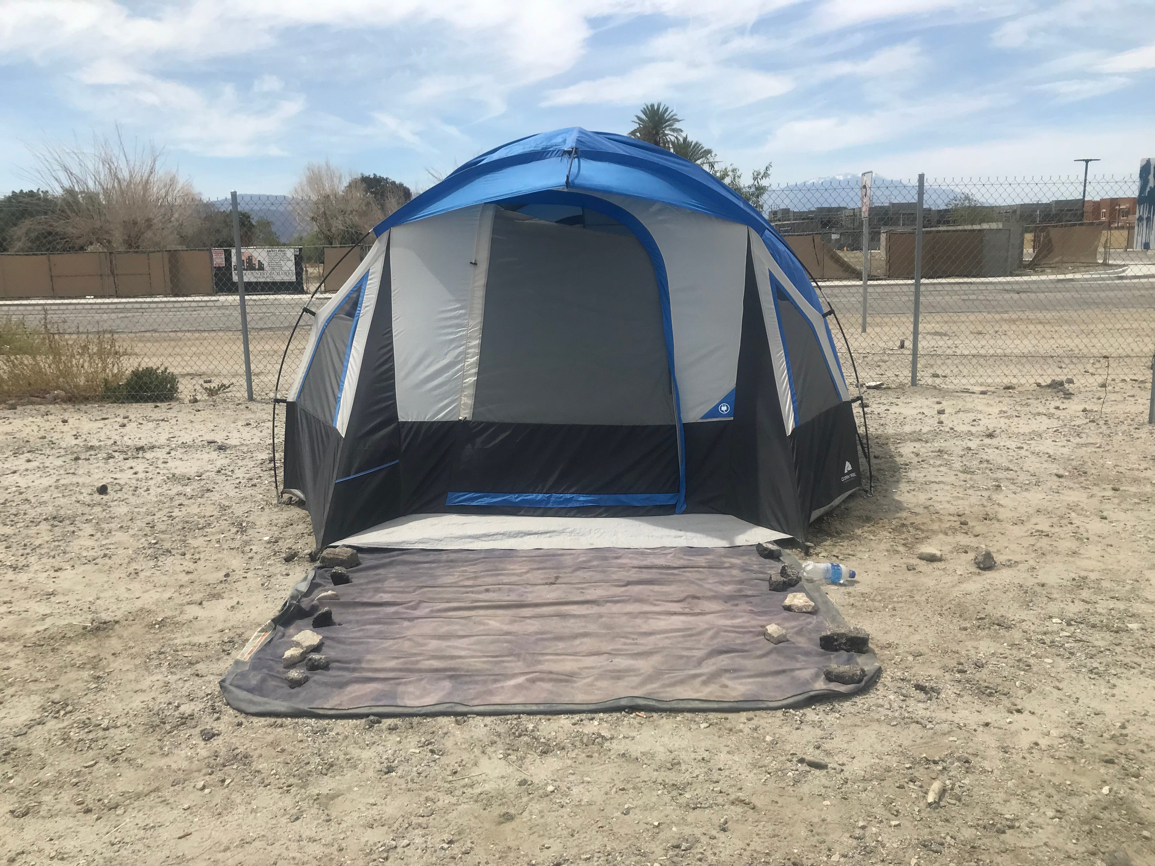 A resident purchased this $98 tent, air mattress and sleeping bag from Wal-Mart this week in hopes to settle into a new home at the One Stop Shoppe encampment.