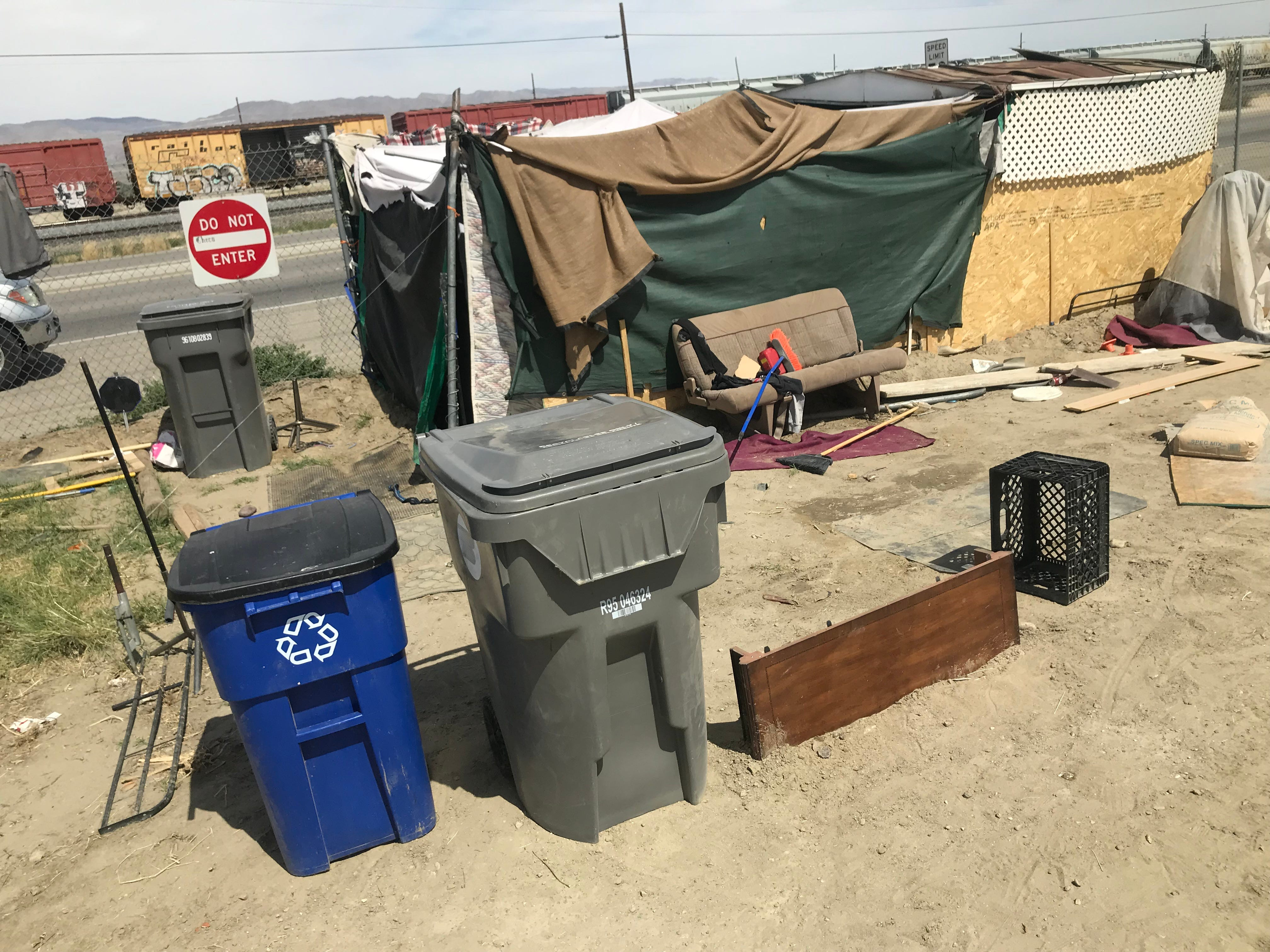 A hut on the site of the One Stop Shoppe encampment in Indio.