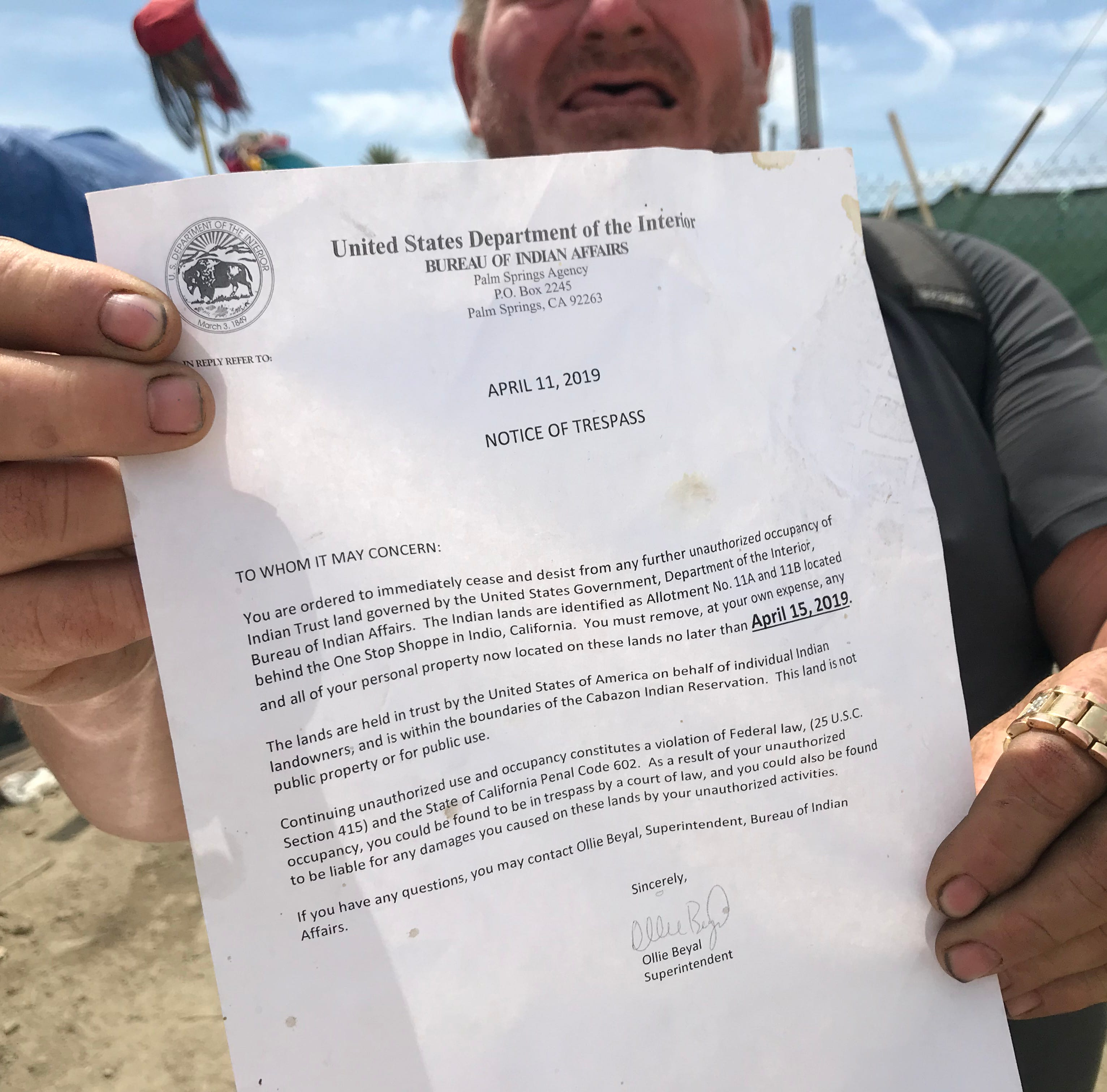 Homeless encampment 5 miles from Coachella music fest to be evicted this week