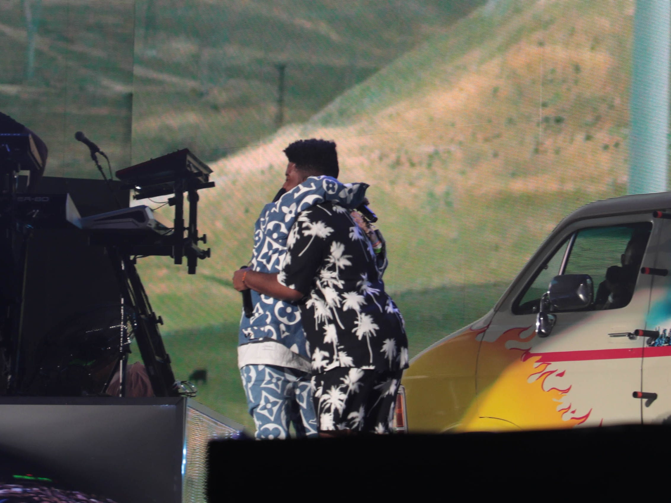 Billie Eilish and Khalid hug at the Coachella Valley Music and Arts Festival on Sunday, April 14, 2019 in Indio, Calif.