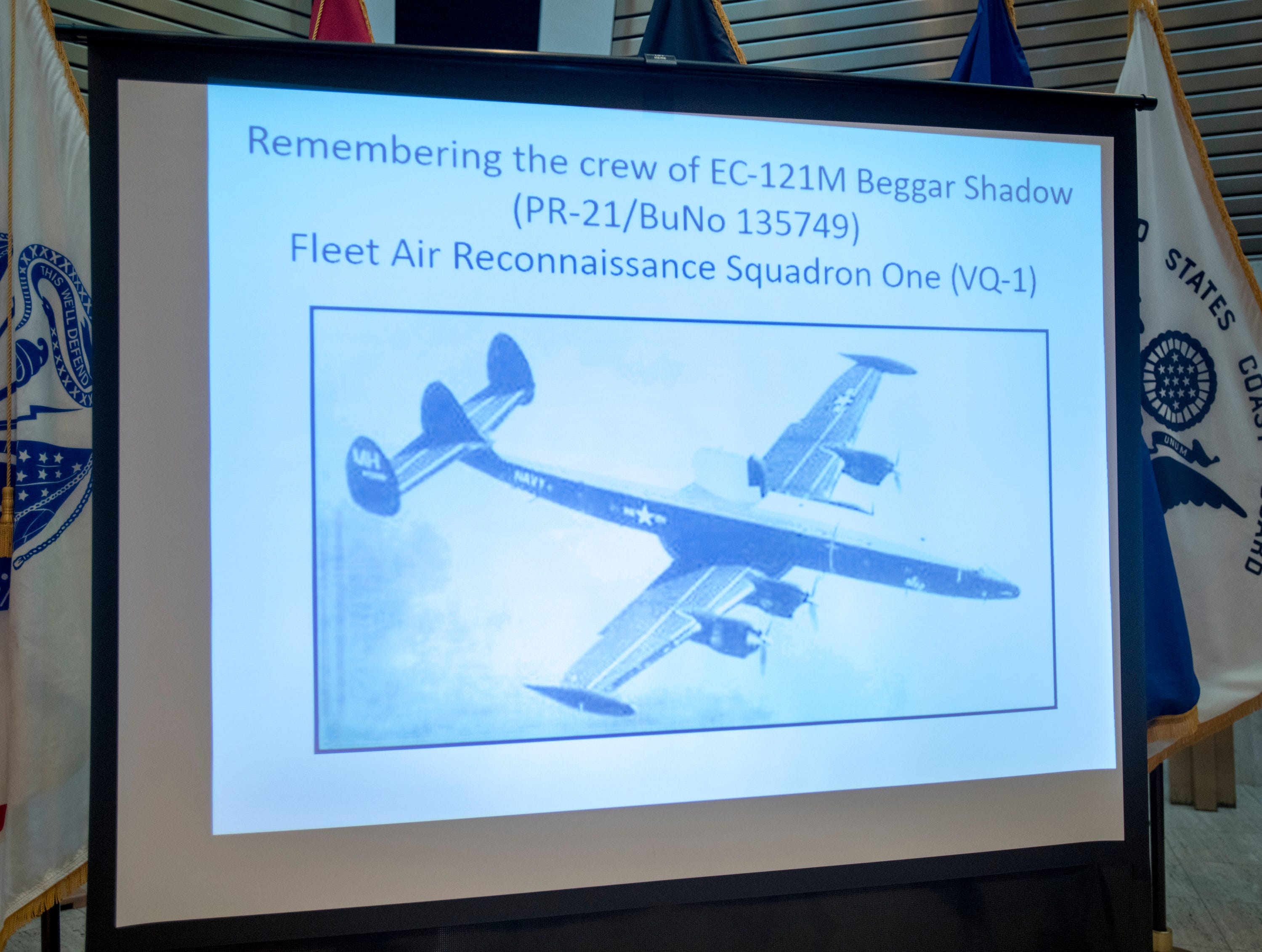"""A memorial service was held for the fallen crew of the EC-121M """"Beggar Shadow"""" reconnaissance plane at Corry Station in Pensacola on Monday, April 15, 2019.  The Navy EC-121M reconnaissance aircraft (PR-21/BuNo 135749) of Fleet Air Reconnaissance Squadron One (VQ-1) was shot down over the Sea of Japan by North Korea on Monday, April 14,1969.  All 31 crewmembers were killed, including nine NAVSECGRU cryptologists."""