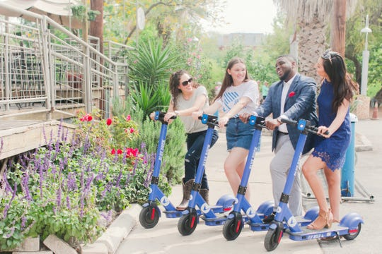 The Blue Duck Scooter transit system arrived in Pensacola in mid-April on a temporary basis.