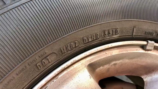 You can tell when a tire was manufactured by the four-digit code on the side.