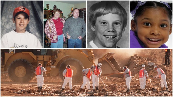 From top left: Brad Hansen, Charles Russell and Catherine Nelson, Brian Bleyl, and Jhessye Shockley. At bottom: A fruitless landfill search for the body of Cookie Jacobson.