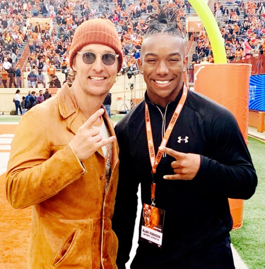 Texas Longhorns fan Matthew McConaughey's message to top recruit Bijan Robinson: 'Enjoy it'