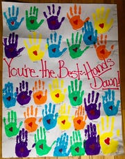 Milich's second-grade class sent Ben Adam a poster to thank him for sponsoring their classroom supplies.