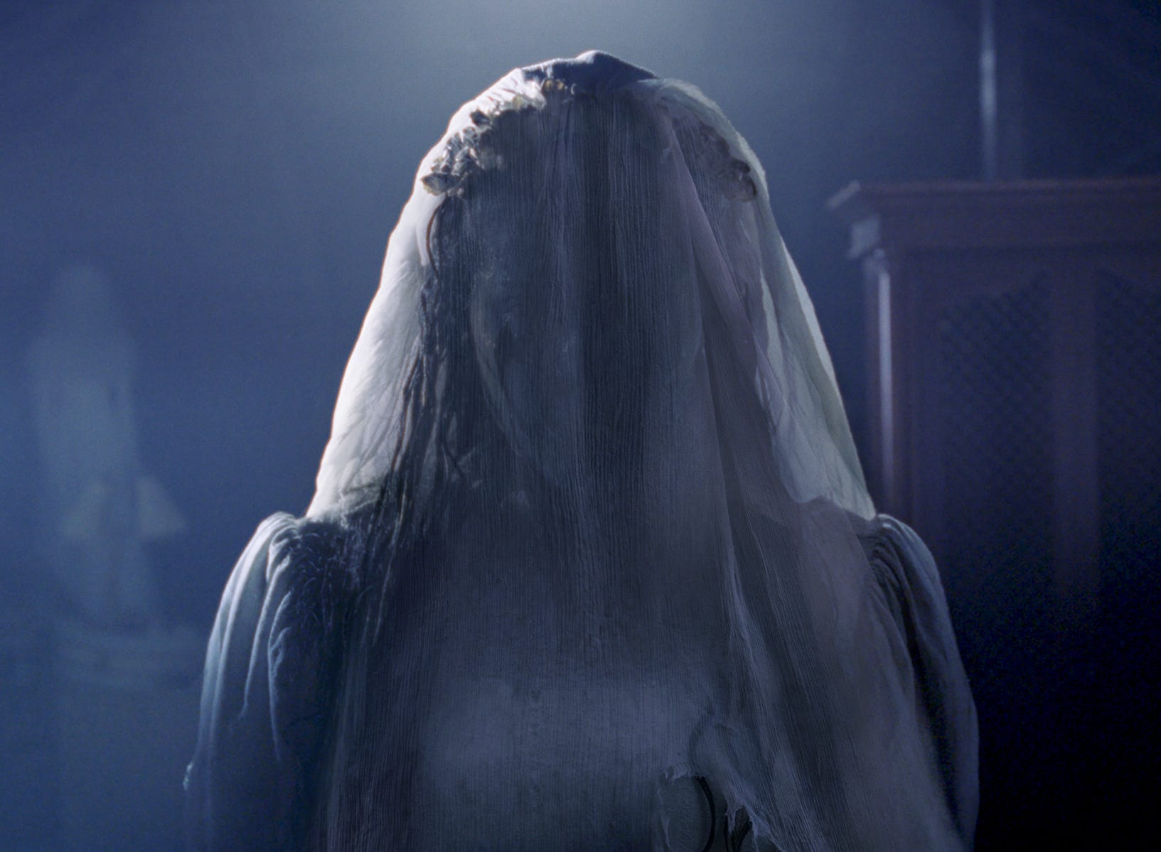 "Something bad is about to happen when La Llorona (Marisol Ramirez) appears in ""The Curse of La Llorona."""