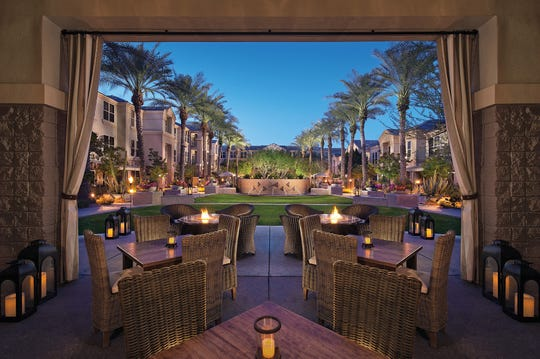 The desert oasis features luxurious accommodations, a spectacular pool and sundeck with a Terrace Bar overlooking the serene courtyard.