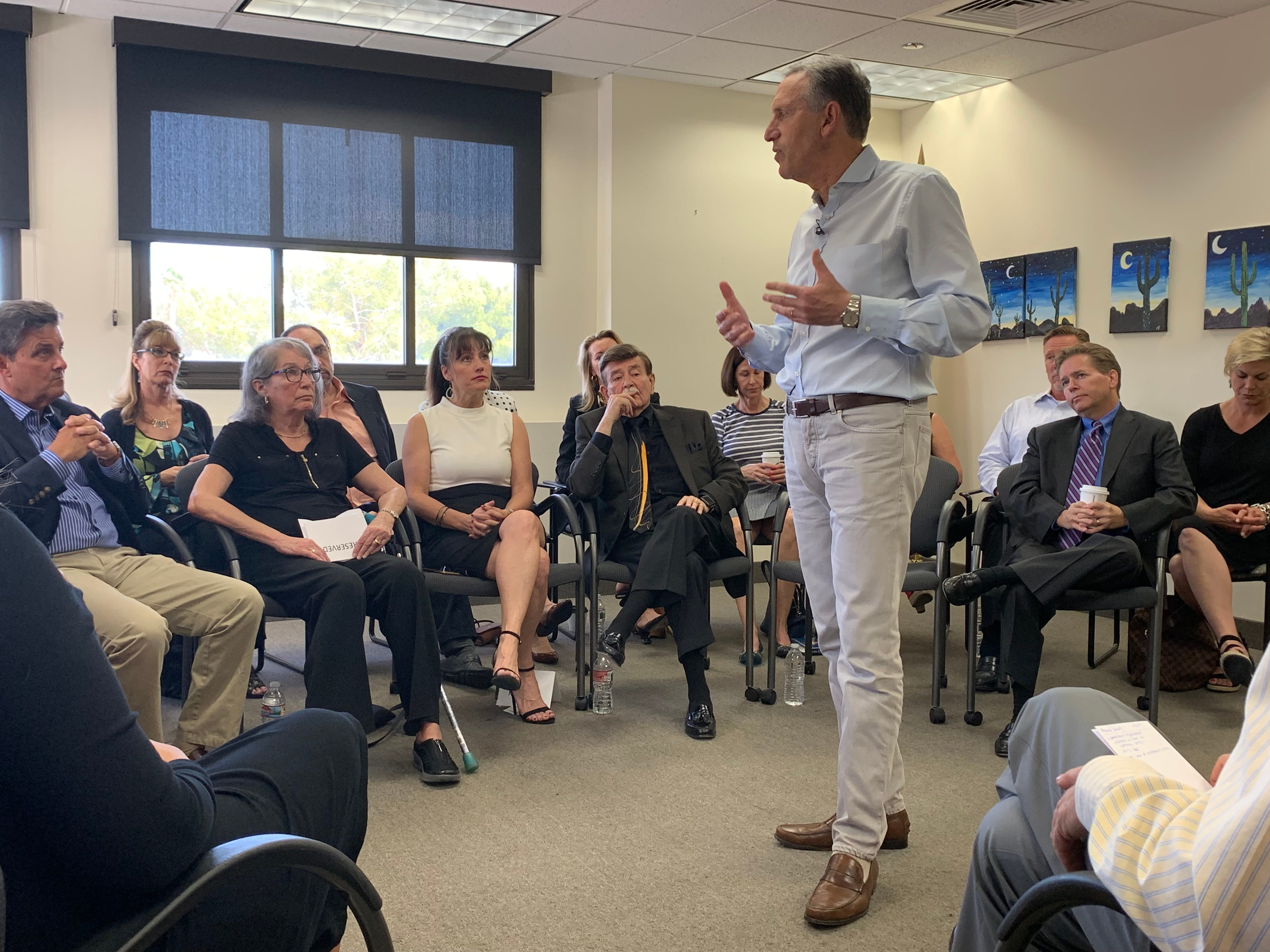 Longtime Starbucks CEO Howard Schultz is considering a bid for president, and he stopped in Arizona to hold town halls with residents.