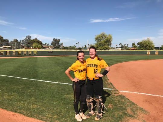 Saguaro softball pitcher Caelan Koch (left) and Brooke Piazza (right)