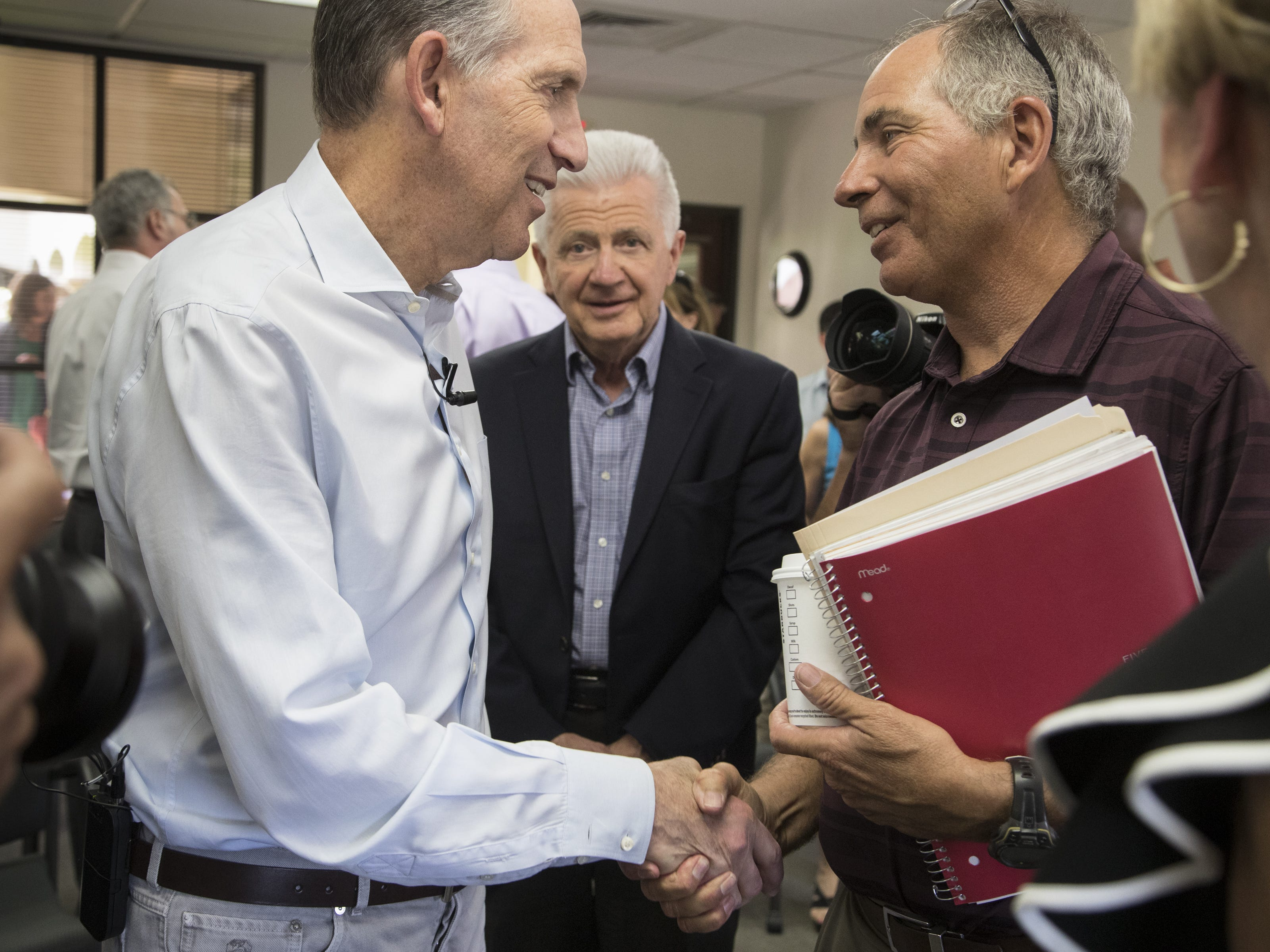 Howard Schultz greets guests after a town hall meeting on April 15, 2019, at the Scottsdale Area Chamber of Commerce in Scottsdale.